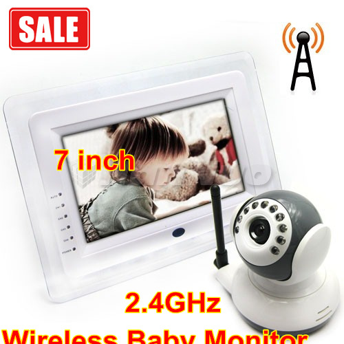 7 Inch TFT LCD 4 Channel Baby Monitor Systems with High-def 2.4GHz Wireless Camera/ video baby camera/baby monitor wireless(China (Mainland))