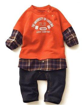 1pc retail, Baby Boys Orange Fake 2pcs Romper and Jumpsuit,  Baby wear,Plaid Hem Fashion Boys Sets , freeshipping
