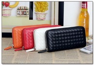 Free shipping  Ladies' Wallet  Women's Zipper PU Leather Purse  Woven Pattern Clutch Wallet