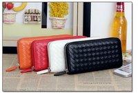 Free shipping  Ladies' Wallet  Women's Zipper PU Leather Purse  Woven Pattern Clutch Wallet