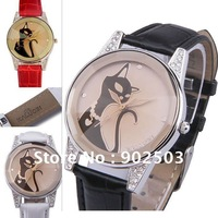 Wrist quartz watch,lovely black cat design,Crystal glass surface,Japan movement,good sheen soft PU leather band,free shipping