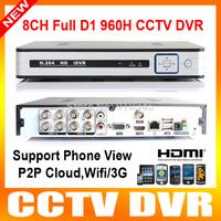 8Ch 960h H.264 cctv dvr recorder hd 1080P HDMI output Network CCTV DVR FUll D1 Real time Recording P2P Cloud wifi/3G