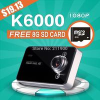 Freel shipping K6000 2.7 inch TFT Full HD Car DVR with HD 1920*1080P Support G-sensor