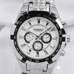 Hot Sale Stylish CURREN Sports Men Watch Stainless Steel White Adjustable Quartz Analog Wrist Watch Men's Watches Free Shiping(China (Mainland))