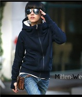 Simple and Comfortable High Collar Special Long Sleeves Design Fleeces Hood Coat For Women Coat Free Shipping+Wholesale 4 color