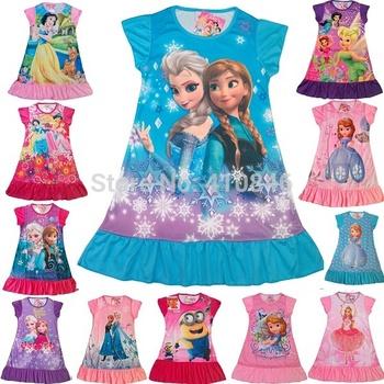 2014 New Girl dress Cartoon Short sleeve dresses Frozen Princess Multicolor girls nightdress 40 pcs lot