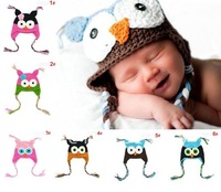 Cartoon Designs 100% Handmade Children Crochet Hats Various Animal Styles Baby Owl Beanie hat Kids Flower Caps 10pcs lot H021