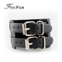 Pulseiras Femininas Men Vintage Buckle Brown Black Punk PU Leather Bracelets Bangles New 2014 Designer Bijoux Handmade Bijoux