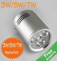 LED down light+3w/5w/7W for option+Mounted installtion+90V-265V+4pcs/lot+Free shipping