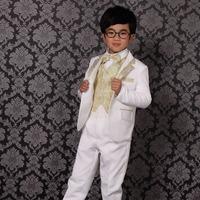 free shipping boy's white suit  kids formal wedding suit 6 pcs  :jacket+vest+pants+bow tie+shirt+belt