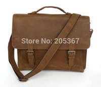 J.M.D Cowboy Crazy Horse Leather Brown Laptop Bag  Tactical Briefcase Laptop Messenger Bags #7035B-1
