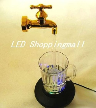 Novelty multi color water faucet lamp,Wonderful fountain water flow LED cup light,Magic Tap running lights, retailsale