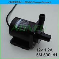 AN40-1250, 500LPH 12V Brushless DC Mini water Pump For CPU Cooling/Solar Fountain/Garden Water feature/Aquarium, Ceramic Shaft