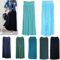 Discount Womens 2013 Retro Vintage Spring Modal Pleated Full Long Maxi Shirts High Waist Skirt Elastic Waist Band Free Shipping