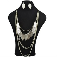 Fashion Jewelry Leaves Necklace Alloy Chains and Leaves String Necklace Mixed Colors
