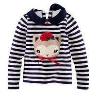 Girl's Long-sleeved Knitted T-shirts Children's 100% Cotton Tees, 6 Sizes/lot - JBLT303/JBLT306/JBLT338/JBLT357/JBLT365/JBLT368