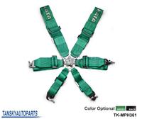 "Black / Green - 3"" 6 POINTS Car Seat Belt with 6pcs FIA 2018 Homologation / Harness / Racing Satefy Seat Belt TK-MPH361"