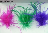 New design hair clips with ostrich feather,ostrich puffs with grossgrain ribbon lined hair clip many colors,free shipping by ems