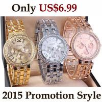 Newest Famous Branded Luxury Golden Silver Rose Wristband CZ Rhinestone Business Alloy Geneva Men Women Watches