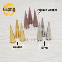 25pcs 7*24.5mm Screwback Spike Cone Stud Rivet Nail Metal Bullet DIY Shoe Bag Belt Garment Punk Leathercraft #GZ025-24.5(Mix)+B5