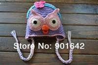 2014 New Crochet Toddler Girl Lavender Hootabelle Hat,Baby Girl Owl Hootabelle Owl Beanie Hat,Boy Hoot Blue Hat With Orange Beak