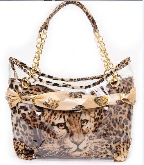 Women Bag 2015 Spring Fashion Leopard Transparent Women Handbag Shoulder Bag Women Famous Brands Leather Handbags Designers Bag(China (Mainland))
