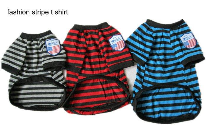 Super Deal !! Wholesale 1 pcs Unique Stripe Shirt Dog Clothes Pet Apparel(China (Mainland))