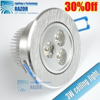 Summer Promotion Price 3 LED ceiling light aluminum 2-year warranty,warm white/cool white.free shipping 24PCS/LOT .