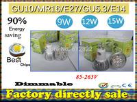 Factory directly sale 10pcs/lot CREE Bulb led bulb MR16 9w 12w 15w AC/DC 12V Dimmable led lamps Light spotlight free shipping