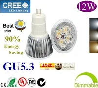 Home Garden High Power GU5.3  12W dimmable LED lighting Spotlight  led bulbs led lamp 85-265V  free shipping