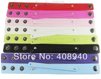 """18+8MM PU Leather Wristband Bracelets """" Can Choose the Color"""" (10 pieces/lot) DIY Accessory Fit Slide Letter /Slide Charms"""