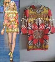 2014 autumn Brand Silk Print Half Sleeve Dress [ Brand High Quality ]