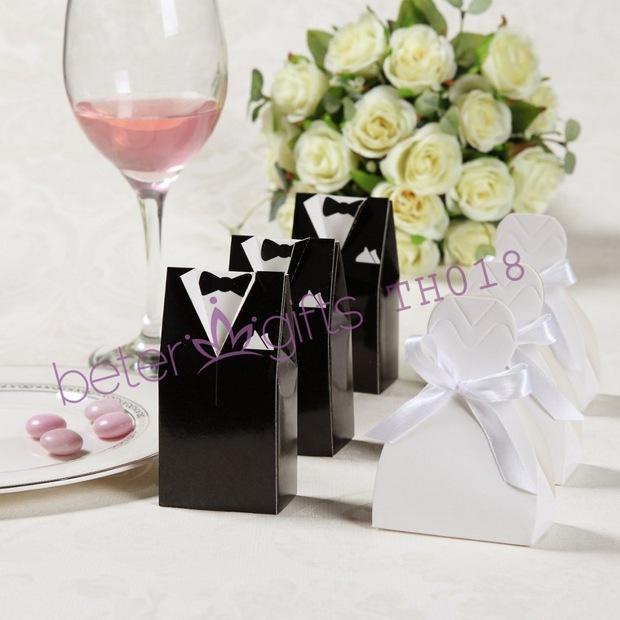 96pcs=48pair Wedding Dress and Tuxedo Favor Boxes TH018 unique Wedding Souvenir wholesale@BeterWedding(China (Mainland))