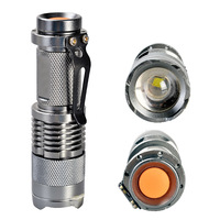 Mini CREE Q5 300 Lumens Focus adjustable Torch Zoomable LED Flashlight Torch light 18650 Free Shipping