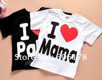 Hot sell New I love papa mama baby shirt/T-Shirt boy & girl short sleeve shirt Shirt,Infants & Toddlers T-shirt ,(20 pcs/lot)