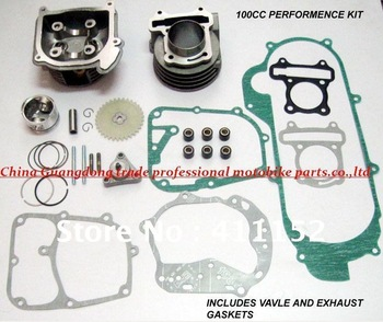 GY6 50~80cc upgrated 100cc Big Bore Kit 139QMB  scooter parts -gasket Piston_Cylinder_Rings_Wrist-Pin_All-Gaskets_HEAD_64mm