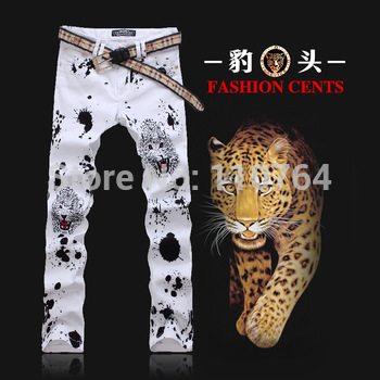 New Men Leopard printing White Jean Pants Colored Pattern Printed Straight Slim Mens Designer Long Cool Slim Jeans