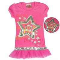 LittleSpring In stock! Girls Summer Dress Kid letter five-pointed star Lace Dress Girls beautiful dress casual dress