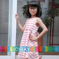 Tutu Cute Flower Pink Striped design girls dress kids sleeveless baby children clothes little girl dresses K0132