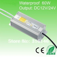 DHL free shipping Waterproof IP67 60W DC12V 24V LED Transformer LED driver LED power Supply