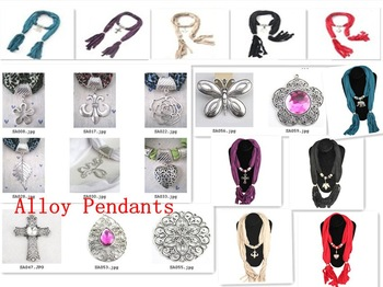 Promotional Alloy Pendants Ladies' Scarf Necklace/Jewelry Necklaces Scarves shawl wraps pashmina