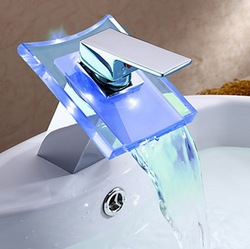 NEW Basin Waterfall Faucet 3 Colors LED Battery Power Bathroom Mixer Tap Sink Chrome CM0036(China (Mainland))