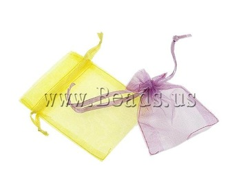 Free Shipping Fashion 7x9cm 500PCs/Lot organza drawstring gift bag rectangle mixed colors transparent Jewelry Bags Top Selling