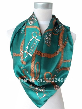 2013 New Style Fashion Hot Sale Dark Green Women Satin Big Square Silk Scarf Printed,New Design Polyester Shawl For Lady 90*90cm