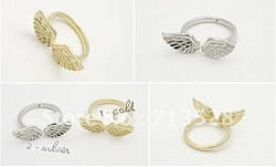 Min order $10 (mix order) fashion jewelry Alloy Angel Wings Single Ring ,free shipping(China (Mainland))