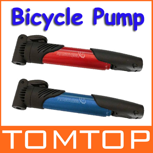 Mini Portable Bike Bicycle Tire Inflator Air Pump Skidproof Blue / Red H8719(China (Mainland))
