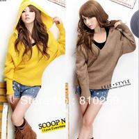 048 free shipping 2014 autumn winter women new fashion 4-color hooded v neck long batwing sleeve clock pullovers sweater coats