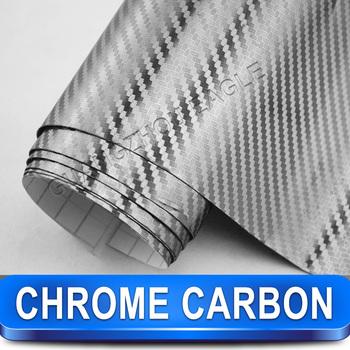 Chrome Silver Carbon Fiber Vinyl Wrap Car Sticker Film / Size 1.52 x 30 Meter / FREE SHIPPING New Arrival