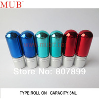 Promotion 100pcs/Lot  3ml Roll On Bottle Aluminum Cap Essential Oil With Color Bottle,(Red,Blue,Green)