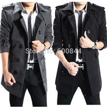 S-4XL Winter Mens UK Stylish Casual Wool Double Long Jacket Coat Mens Peacoats Parka Cheap Winter Coats For Men Plus Size LLB001(China (Mainland))